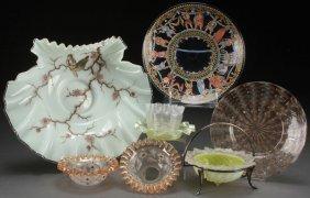 An Eight Piece Group Of Victorian Art Glass.