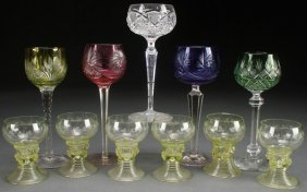 A Collection Of Five Cut Glass Wines, Early 20th