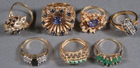A Collection Of Six Ladies Gold And Gemstone Ring