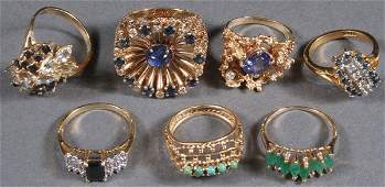 A COLLECTION OF SIX LADIES GOLD AND GEMSTONE RINGS