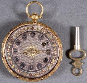 AN 18TH CENTURY FRENCH GOLD GEM SET POCKET WATCH,