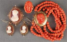 A FIVE PIECE GROUP OF VICTORIAN CARVED CAMEO JEWELRY