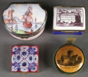 A Pair Of Early Battersea Enameled Boxes, 19th C