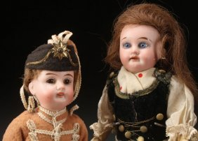 Two Petite German Bisque Costume Dolls