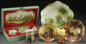A Nine Piece Group R.s. Prussia And Germany Porcelain