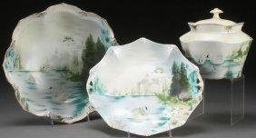 "Three Piece R.s. Prussia ""swans"" Porcelain"