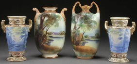 Group Of Hand Painted Nippon Scenic Porcelain