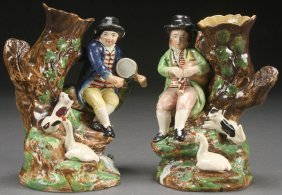 A Pair Of Staffordshire Figural Spill Vases Of Mu