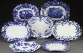 7 Staffordshire Flow Blue & Transferware Platters