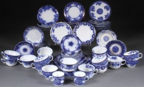 A 67 Piece Group Of English Staffordshire Flow Bl