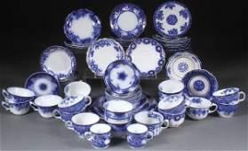 67 PIECE ENGLISH STAFFORDSHIRE FLOW BLUE DINNERWARE