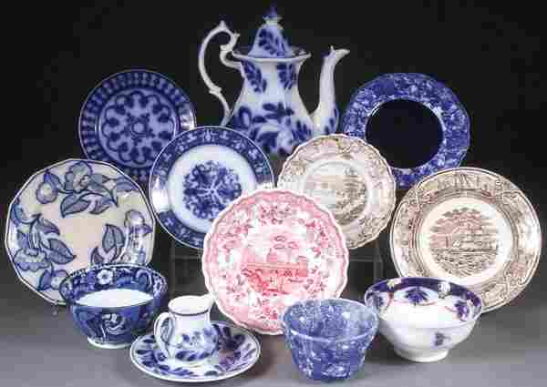 A 13 PIECE GROUP OF MOSTLY ENGLISH STAFFORDSHIRE