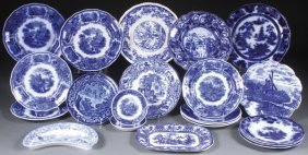 A 21 Piece Victorian Flow Blue And Transferware