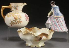 A Three Piece Group Of Victorian Porcelain. Compr