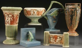 A Seven Piece Group Of Roseville Art Pottery, Ear