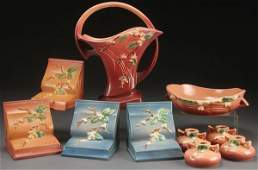 A COLLECTION OF ROSEVILLE SNOWBERRY ART POTTERY