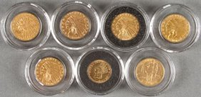 A Group Of Five U.s. Gold Pieces.