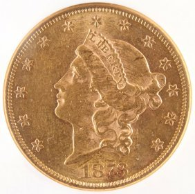 "An 1873 $20 Liberty Head Gold Double Eagle. ""op"