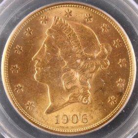 A 1906-s $20 Gold Liberty Head Eagle. Pcgs Ms63.