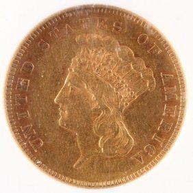 An 1855 $3 Indian Princess Gold Piece. Ngc Au53.