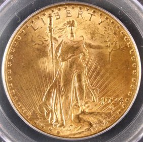 A 1924 $20 St.gaudens Gold Double Eagle. Ms63