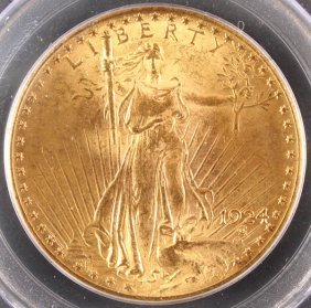A 1924 $20 St.gaudens Gold Double Eagle.