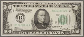 A U.s. $500 Federal Reserve Note. Series Of 1934-