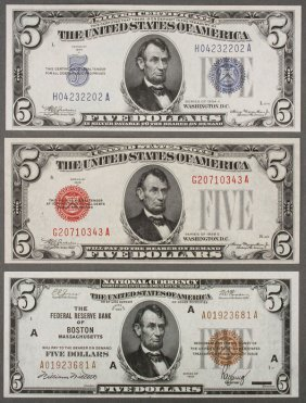 A Seven Piece Collection Of U.s. Currency. Compri