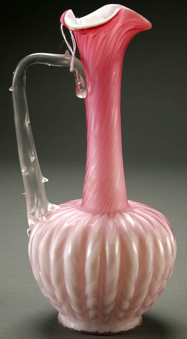 11: A GOOD MOTHER-OF-PEARL GLASS EWER late 19th centu