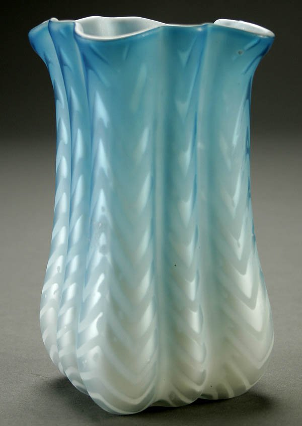 16: A FINE BLUE MOTHER-OF-PEARL CELERY VASE late 19th