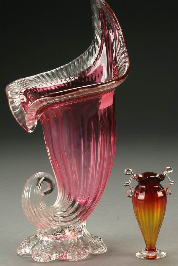 22: TWO VENETIAN GLASS VASES mid 20th century, the fi