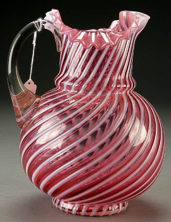 23: A CRANBERRY OPALESCENT SWIRL WATER PITCHER mid 20