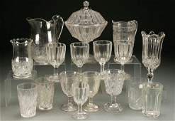 496: AN 18 PIECE GROUP OF EARLY AMERICAN PRESSED GLASS