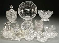 A 40-PIECE COLLECTION OF CUT AND PRESSED GLASS in