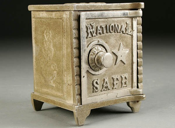 855: A NATIONAL SAFE CAST IRON BANK early 20th century