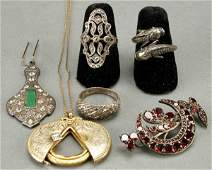1292: A VICTORIAN JEWELRY GROUP comprising a diamond se