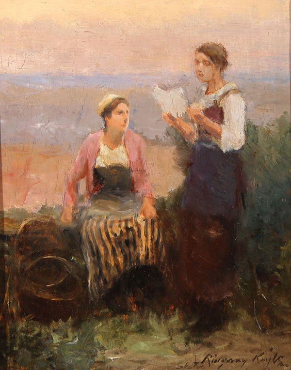 DANIEL RIDGWAY KNIGHT OIL SKETCH DATED 1910