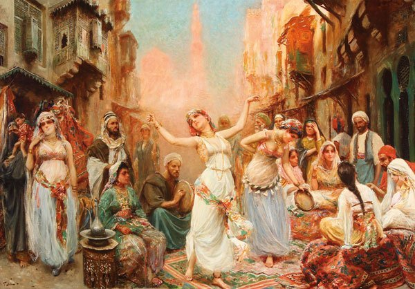 LARGE EXCEPTIONAL HAREM DANCE PAINTING, FABI FABBI