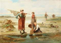 LARGE EUROPEAN OIL PAINTING SIGNED FAYARD 19TH C