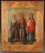A RUSSIAN ICON OF SELECTED SAINTS, CIRCA 1890
