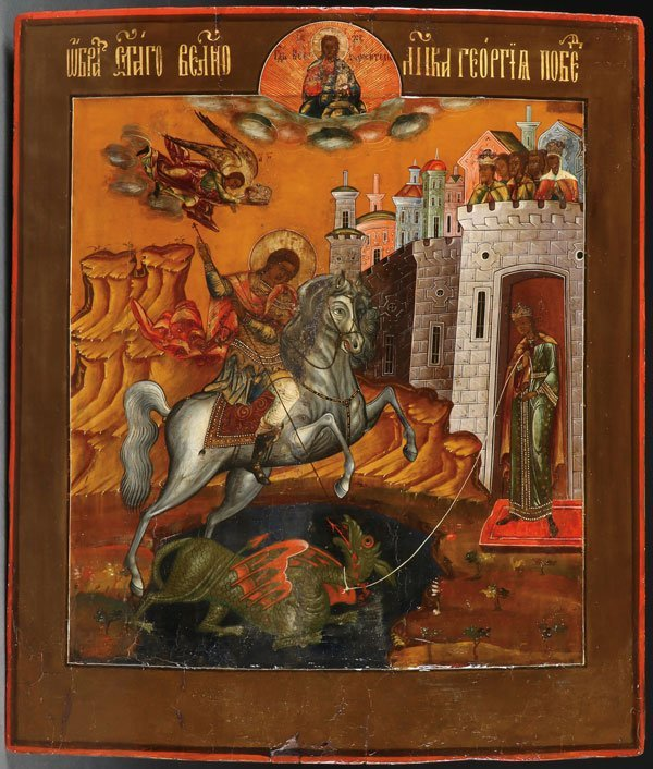 A LARGE RUSSIAN ICON OF ST. GEORGE 19TH CENTURY