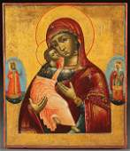 RUSSIAN ICON OF THE VLADIMIR MOG, LATE 18TH C