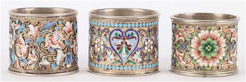 3 RUSSIAN SILVER AND ENAMEL NAPKIN RINGS