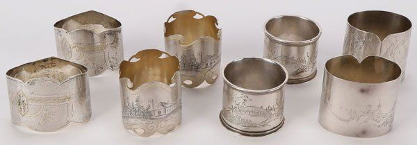 RUSSIAN SILVER NAPKIN RINGS MOSCOW 1890-1917