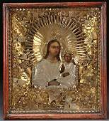 CHARMING RUSSIAN PEASANT ICON OF VIRGIN 19TH C
