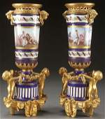 A VERY FINE PAIR OF FRENCH SEVRES STYLE HAND PAIN