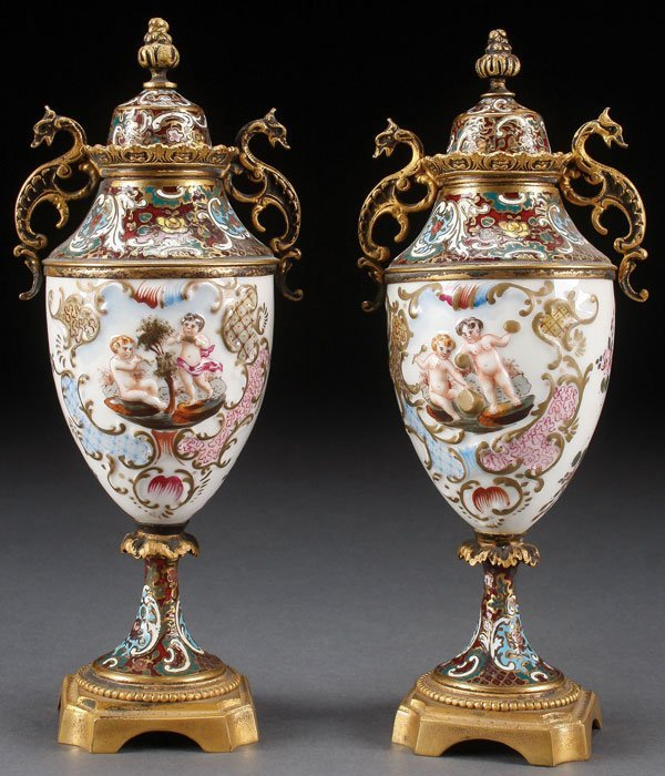 A PAIR OF FRENCH ENAMELED BRONZE AND PORCELAIN