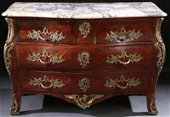 A FINE FRENCH LOUIS XV STYLE MARBLE MAHOGANY