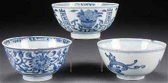 A THREE PIECE GROUP OF CHINESE BLUE/WHITE