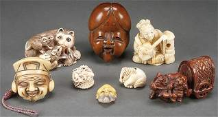 AN EIGHT PIECE GROUP OF JAPANESE CARVED IVORY